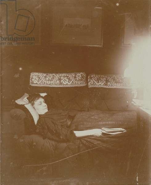 Louise Hal̩vy Reclining, Edgar Degas, French, 1834 - 1917, France, Europe, 1895, Gelatin silver print, Image: 9.6 x 7.8 cm (3 3/4 x 3 1/16 in.), Mat: 48.9 x 36.2 cm (19 1/4 x 14 1/4 in.) | usage worldwide