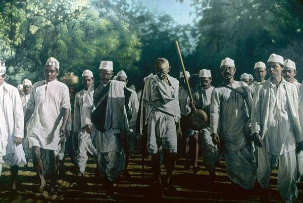 Gandhi during the Salt March, 1930 (photo)