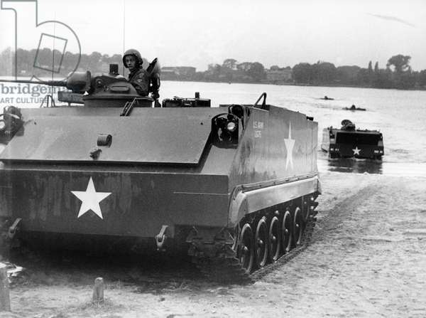 Amphibian vehicle in action during manoeuvre of US army in Grunewald in Berlin