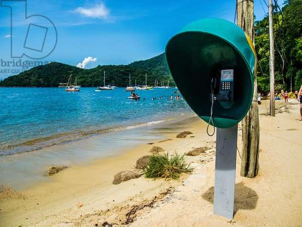 Telephone Booth on the Beach in Vila do Abra¿o, Ilha Grande, Rio de Janeiro