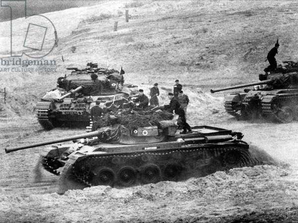 Allied tank manoeuvre in Berlin Grunewald