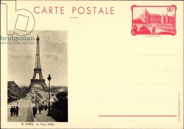 Ganzsachen Paris, La Tour Eiffel, Eiffelturm, 90 Centimes