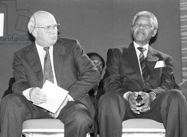 De Klerk and Nelson Mandela, 1991 (b/w photo)