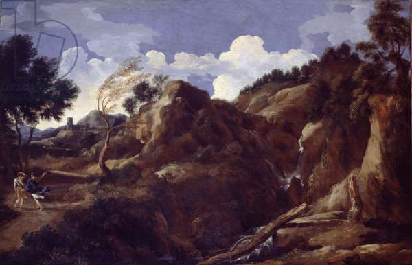 Mountainous Landscape with Approaching Storm, c.1638-39 (oil on canvas)