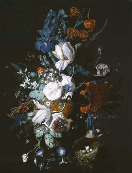 Vase with Flowers, c.1720 (oil on panel)