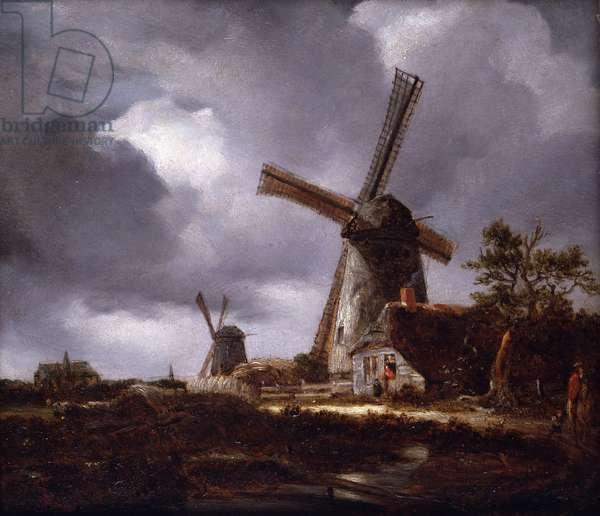 Landscape with Windmills, 1830 (oil on oak panel)