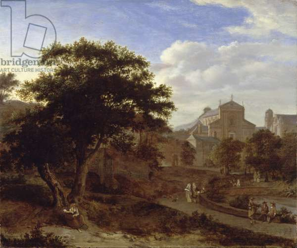 Two Churches and a Town Wall, c.1660 (oil on panel)