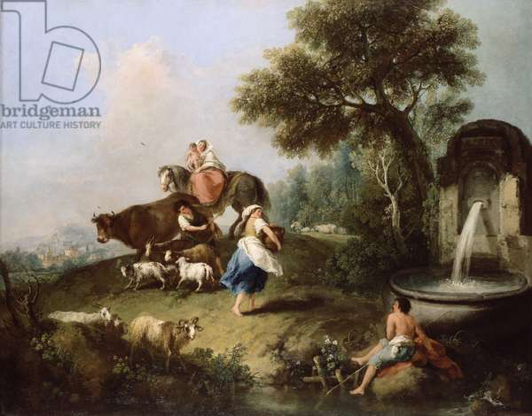 Landscape with a Fountain, Figures and Animals (oil on canvas)