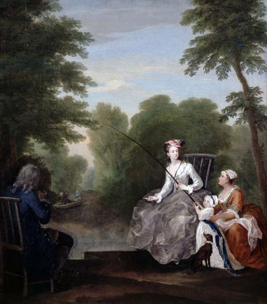 A Fishing Party or 'The Fair Angler', c.1730 (oil on canvas)