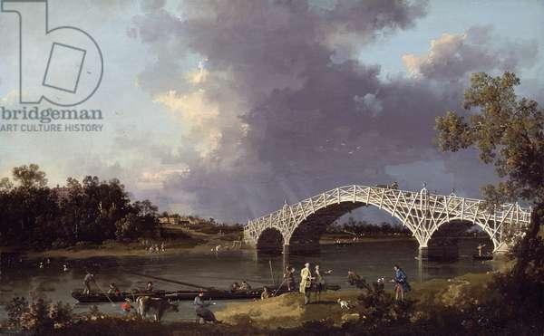 Old Walton Bridge over the Thames, 1754 (oil on canvas)