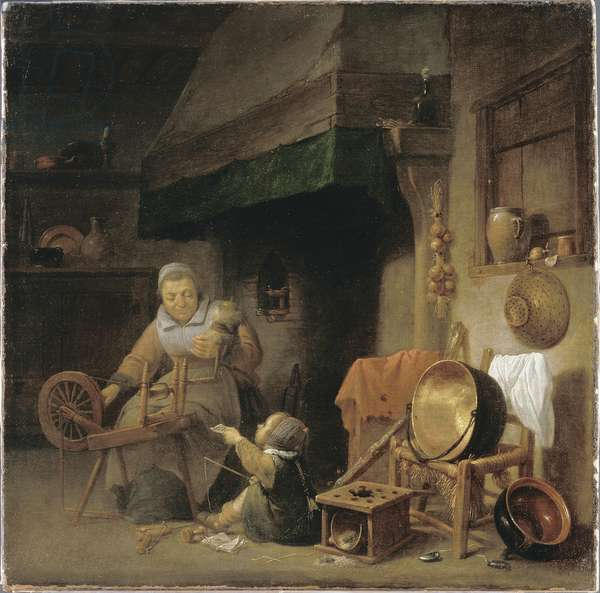 Woman Spinning (oil on canvas)