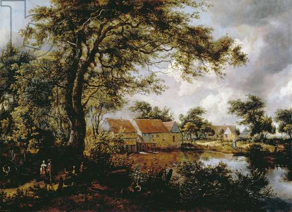 Wooded Landscape with Watermill, 1660s (oil on panel)