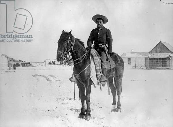 Pine Ridge Agency, S. D. trooper, Buffalo Soldier Corporal, March 1891 (b/w photo)
