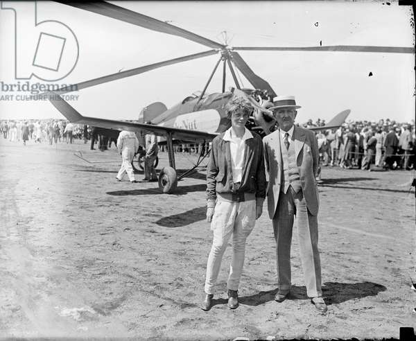 Amelia Earhart and Frederick G. Bonfils, with Beechnut Autogyro, June 1931 (b/w photo)
