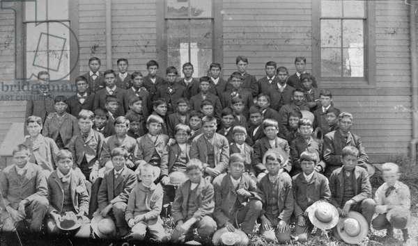 Dakota Indian mission school, c.1880-1900 (b/w photo)