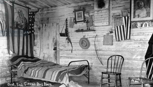 Interior of Red Cloud's House, 1891 (b/w photo)
