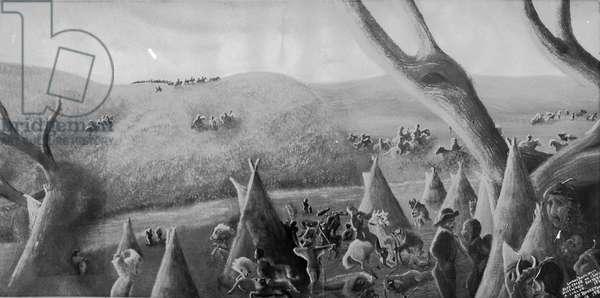 Looking southweast, Sand Creek or Chivington Massacre, 1864, c.1940-70 (litho)
