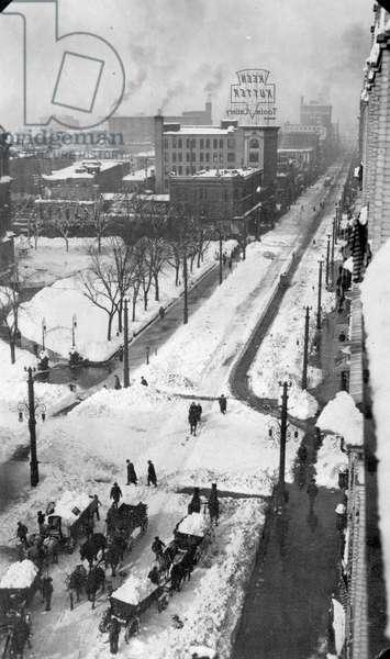 Denver, snowstorm, 1913 (b/w photo)