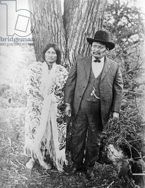 Lone Wolf and wife, c.1890-1910 (b/w photo)