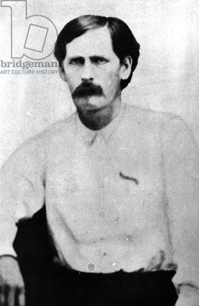 Wyatt Earp in his twenties, from a tintype taken at Dodge City, Kansas, c.1868-78 (b/w photo)