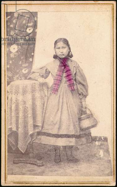 Portrait of the only child saved from the Sand Creek Massacre, c.1870-80 (hand-coloured b/w photo)