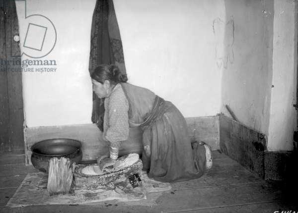Food preparation, San Juan Pueblo, c.1880-1900 (b/w photo)