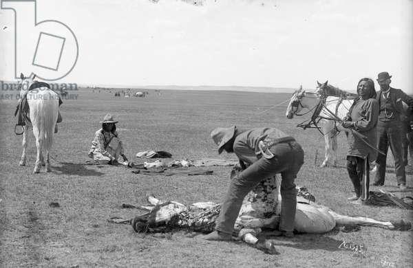 Indians killing beef, 1891 (b/w photo)