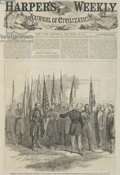 General Custer presenting captured battle flags at the War Department, Washington, front page of 'Harper's Weekly', 1864 (wood engraving)