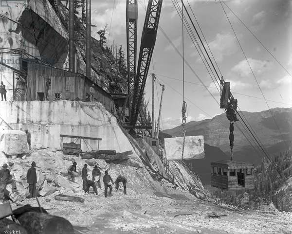 Yule quarry - crane and power house facilities of the Yule Marble Co., near the head of Yule Creek, south of Marble, Colorado, c.1910 (b/w photo)