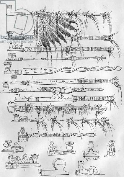 Sioux pipes, c.1851 (litho)