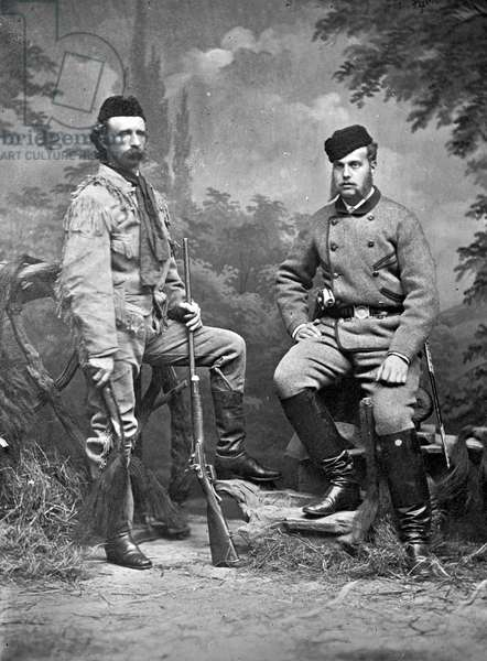 General George A. Custer and Grand Duke Alexis, in hunting clothes, 1872 (b/w photo)