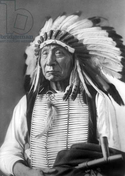 Red Cloud, Dakota Chief, wearing a headdress, 1880s (b/w photo)