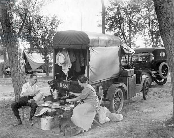 Camping in Rocky Mountain Lake Park, c.1918-20 (b/w photo)