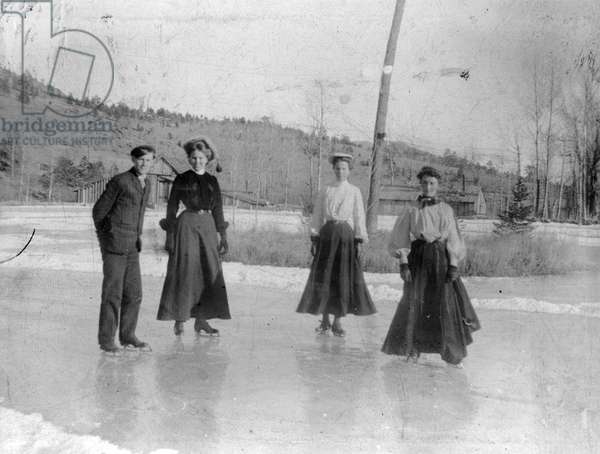 Mountain skating party taken in Park Co., at Chase near Cassells, 1904 (b/w photo)