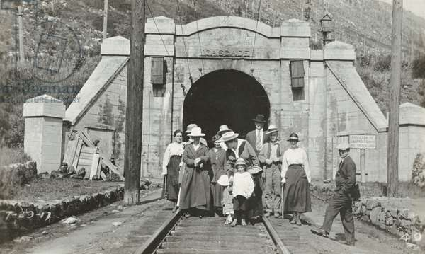 Group at Cascade Tunnel, 1917 (b/w photo)