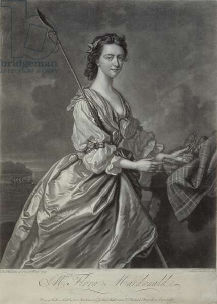 Flora MacDonald (1722-90), engraved by J. Faber,1747 (mezzotint engraving)