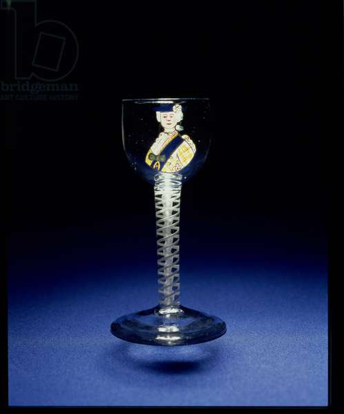 Wine glass with enamel portrait of Prince Charles, made for Thomas Erskine, later 9th Earl of Kellie, c.1775 (glass)