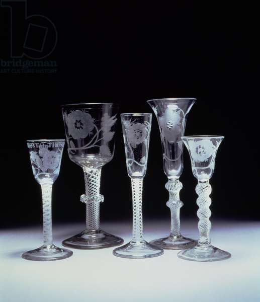Jacobite drinking glasses, c.1745-50 (glass)