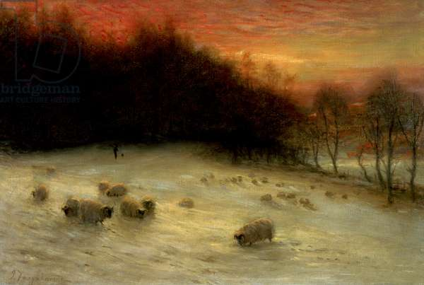 Sheep in a Winter Landscape, Evening (oil on canvas)