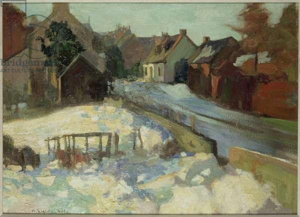 Village Lane (oil on canvas)