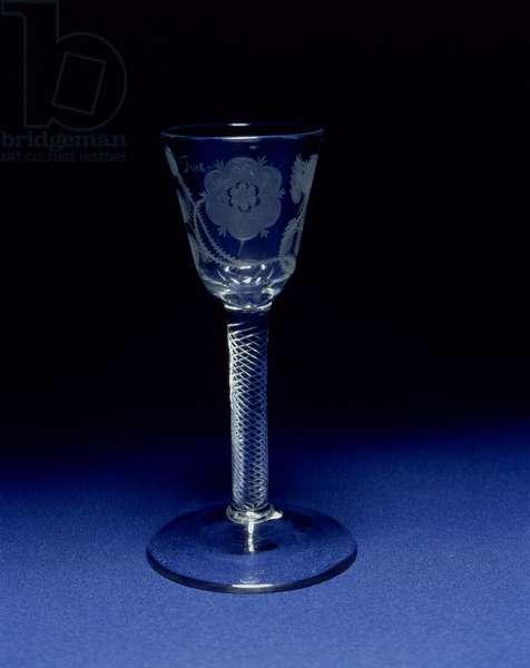 Jacobite portrait wine glass, c.1750 (glass)