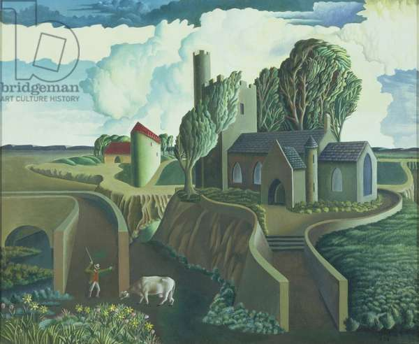 A Hilltop Church, 1930s (oil on canvas)