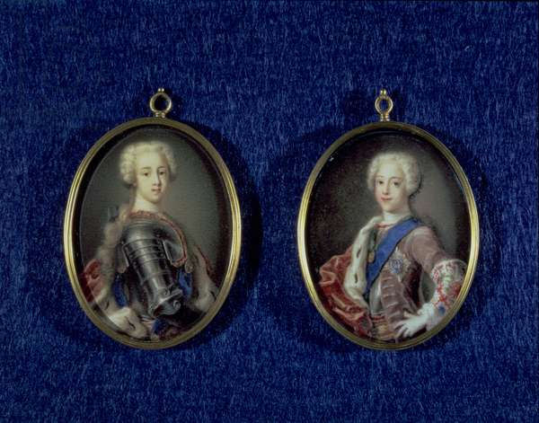 Prince Henry Benedict Stuart (1725-1807) and Prince Charles Edward Stuart (1720-88), c.1734 (oil on ivory)
