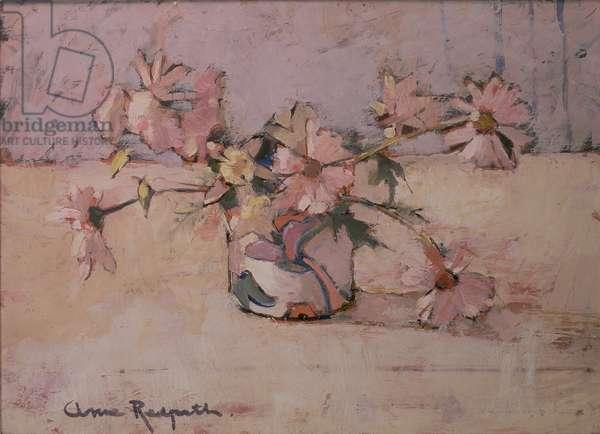 Michaelmas Daisies (oil on canvas)