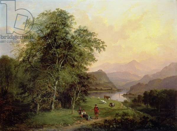 A Highland Lochside, 1847 (oil on canvas)
