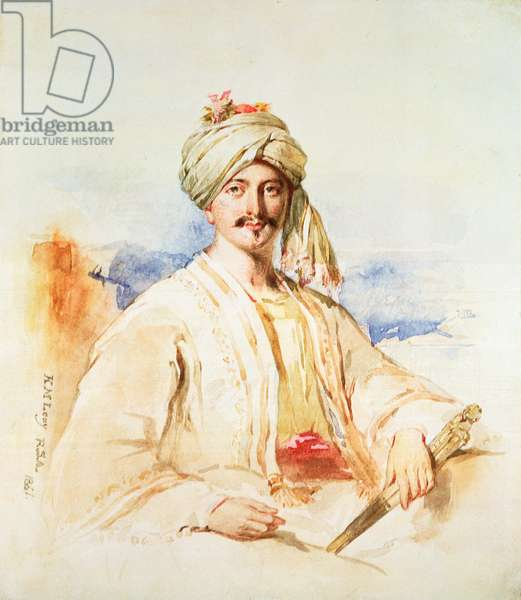 Portrait of a Man in Oriental dress, 1861 (watercolour on paper)