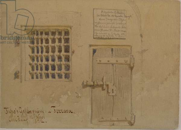 Jasso's Prison in Ferrara, 1852 (pencil and w/c wash on paper)