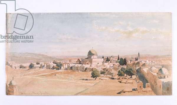 'The Haraam es Shereef, Jerusalem', 1895 (w/c on paper)