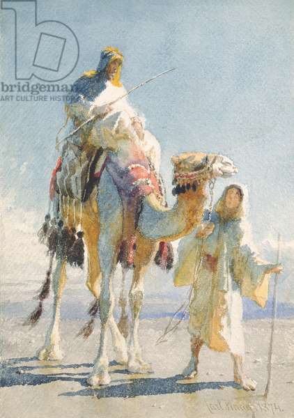 The Shaik and his Guide, 1874 (w/c on paper)