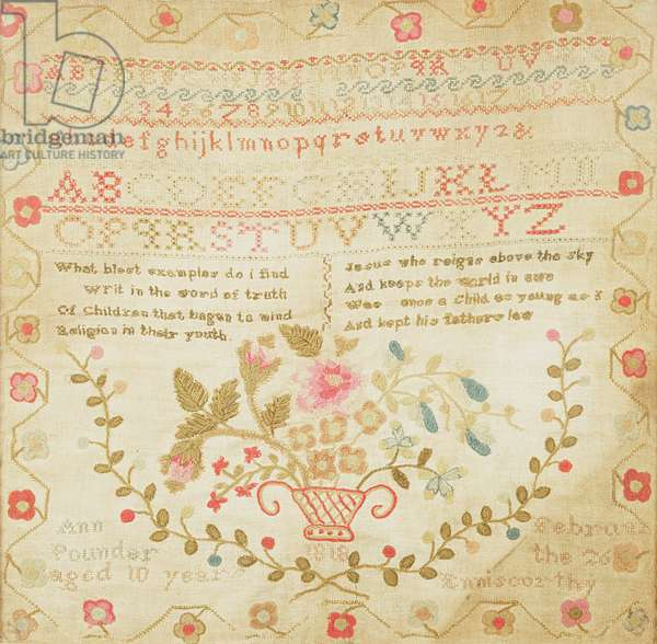 Woolwork sampler with alphabet, verse and a large vase of flowers, worked by Ann Pounder, 1818
